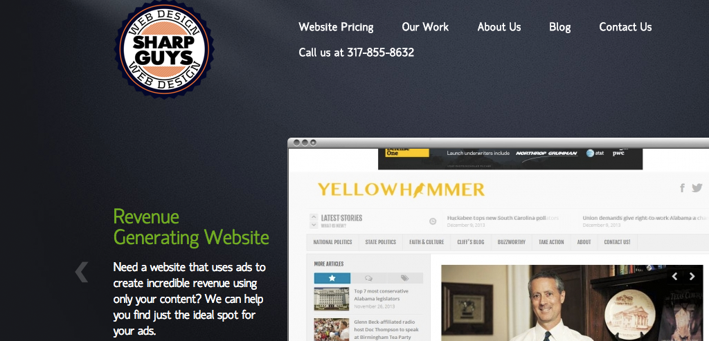 Sharp Guys Web Design connected to Yellowhammer News Blog